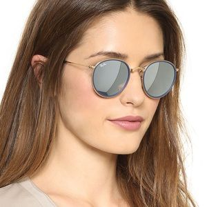 Frosty Blue Lens Round Rayban Glasses